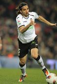 BARCELONA - FEB, 19: Mehmet Topal of Valencia CF in action during the Spanish league match against F