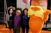 LOS ANGELES - FEB 19:  Danny DeVito, Rhea Perlman, Daughter and Lorax arrives at the