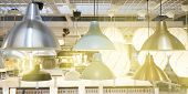 Ceiling Lamps In Assortment. Lighting Store. Beautiful Lamps In Industrial And Loft Style Are Attach poster