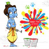stock photo of lord krishna  - illustration of baal Krishna playing holi with colors and pichkari - JPG