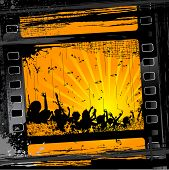 illustration of party people in film stripe on grungy background