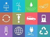 Flat Design Icons Set Of Sustainable Energy And Ecology Concept, Vector Illustration poster