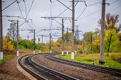 Russian Railway. Rails Sleepers Contact Network. Journey. Railway In The Fall. poster
