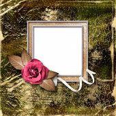 Vintage Gold Frame With A Rose. Framework For A Photo Or Congratulation.