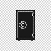 Grey Safe Icon Isolated On Transparent Background. The Door Safe A Bank Vault With A Combination Loc poster