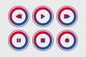 Player Vector Icons. Gradient Play, Stop, Rewind, Forward, Pause, Record Isolated Circle Signs On Tr poster