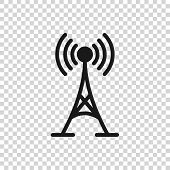 Grey Antenna Icon Isolated On Transparent Background. Radio Antenna Wireless. Technology And Network poster