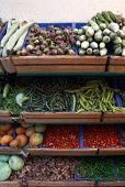 Various Kinds Of Vegetables On Market Stalls