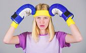Beat Headache. Girl Boxing Gloves Tired To Fight. Strong Woman Suffer Pain. Girl Painful Face Embrac poster