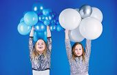 Happiness And Cheerful Moments. Carefree Childhood. Start This Party. Sisters Organize Home Party. H poster