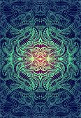 Psychedelic Trippy Colorful Fractal Mandala, Gradient Yellow, Turquoise Bright Color Outline, On Dar poster