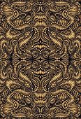 Vintage Psychedelic Fractal Mandala Pattern. Steampunk Style, Golden Gradient Colors, Brown Outline. poster