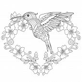 Coloring Page. Coloring Book. Colouring Picture With Hummingbird And Flowers In Heart Shape. Antistr poster