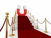 Red carpet on a stairs and large magnet above.
