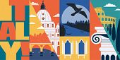 Italy Vector Skyline Illustration, Postcard. Travel To Italy, Rome Modern Flat Graphic Design Elemen poster
