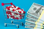 Shopping Cart Filled Red Medicinal Capsules, Wad Of Dollar Money, Blue Background. Most Expensive Dr poster