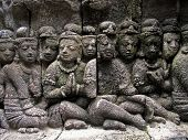 Sculptures In A Wall Of Borobudur Temple, Indonesia