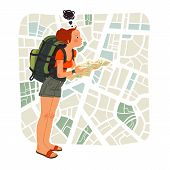 Tourist girl with map in the city