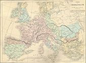 Antique Map Of France Under Charlemagne,