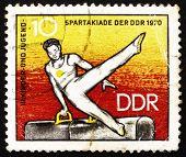 Postage Stamp Gdr 1970 Athlete On Pommel Horse