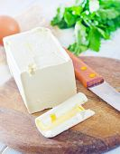 picture of margarine  - Margarine and knife on the wooden board - JPG