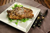 pic of porterhouse steak  - Grilled sirloin beef steak on white plate - JPG