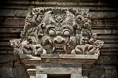Stone craft of  Demon in Candi Penataran temple in Blitar, east Java,  Indonesia.