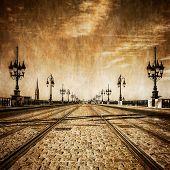 Bordeaux River Bridge With Railway Tracks