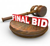 The words Final Bid with a gavel to symbolize an auction winner and last bidder who wins an auctioned item