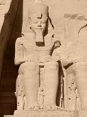 stock photo of ramses  - huge ancient stone sculpture showing Ramses II in Egypt - JPG