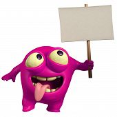 Pink Monster Holding Placard