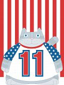 pic of yanks  - A chubby gray cat is wearing a  USA  t - JPG