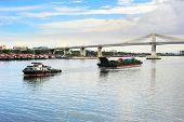 stock photo of cebu  - Cargo transportation in Cebu Philippines at sunset - JPG