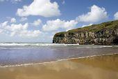 Atlantic Waves On Ballybunion Beach And Cliffs