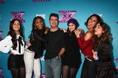LOS ANGELES - DEC 17:  Fifth Harmony, Simon Cowell at the 'X Factor' Season Finale Press Conference at CBS Television City on December 17, 2012 in Los Angeles, CA