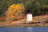 Windmill At Autumn At Cubuk Lake, Turkey