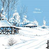 Christmas greeting card idyllic snowy landscape vector illustration