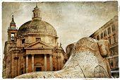 Rome' fountains, piazza dei Popolo, artistic vintage picture