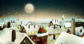 Peaceful Town Under Moonlight At Christmas Eve | Holiday Greeting Card, Banner | Layered Vector Back