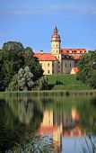 NESVIZH, BELARUS - AUGUST 27: Residential castle of the Radziwill family in Nesvizh, Belarus at Augu