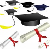 stock photo of academia  - graduation cap and diploma  - JPG