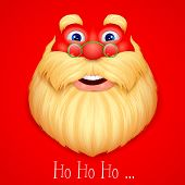 illustration of face Santa Claus singing ho ho ho wishing Merry Christmas
