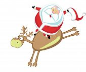 picture of bucking bronco  - Funny cartoon Santa riding a reindeer - JPG