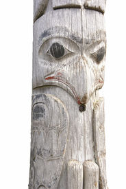 stock photo of tlingit  - Traditional native totem pole in Prince Rupert British Columbia Canada - JPG