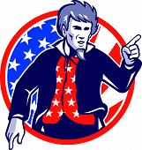 stock photo of uncle  - Illustration of Uncle Sam pointing a finger at you set inside circle with stars and stripes American flag viewed from front - JPG