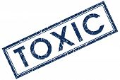 image of toxic substance  - toxic blue square stamp on white background - JPG