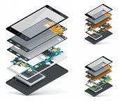 Corte de Vector smartphone isométrica