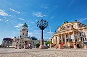 Gendarmenmarkt in Berlin, Germany. View on German Cathedral and Konzerthaus