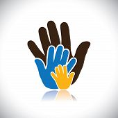 Colorful Hand Icons(signs) Of People Showing Concept Of Family- Vector Graphic