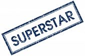Superstar Blue Rectangular Stamp